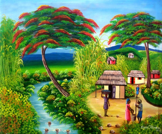 Art of Haiti, Canvas Art, Original Painting, Original Canvas Painting, Haitian Painting, Haitian Art, Canvas Wall Art, 20 x 24