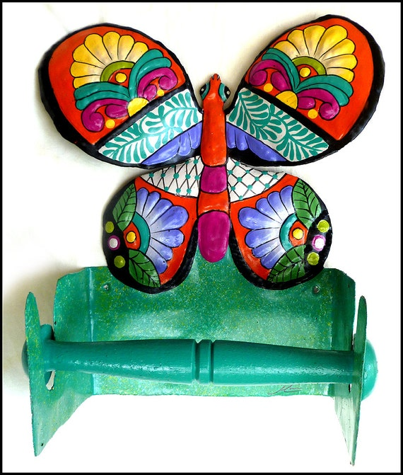Painted Metal Toilet Paper Holder,Butterfly,  Metal Bathroom Decor, Toilet Tissue Holder, Bathroom Accessories, Metal Art, M-901-OR-TP