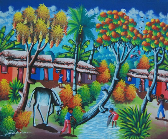 "Art of Haiti, Canvas Painting, Haitian Art, Original Painting, Canvas Art, Haitian Painting, Hand Painted Art, Canvas Wall Art,  20"" x 24"""