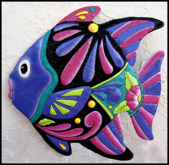 """Painted Tropical Fish, Wall Art, Coastal Decor, Tropical Art, Garden Decor, Outdoor Metal Art, Tropical Fish Wall Hanging, 34"""" - M-801-PU-34"""