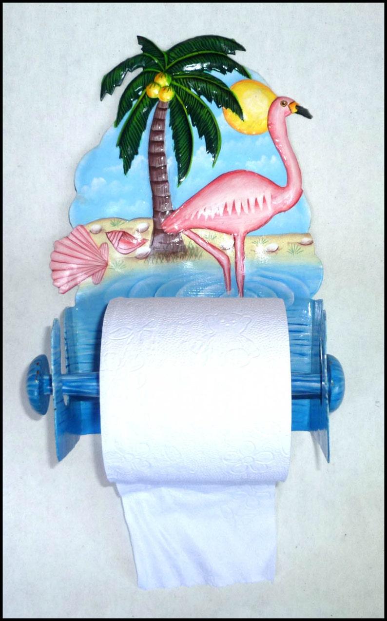 Flamingo Toilet Paper Holder Tropical Home Decor Metal