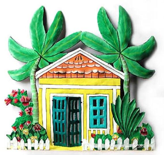 Gingerbread House, Wall Hanging, Metal Wall Art, Tropical Home Decor, Metal Art, Painted Metal, Tropical Art, Garden Decor, K-1003YL