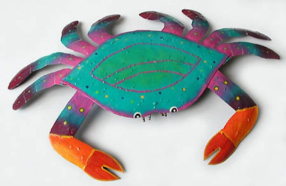 "Painted Metal Crab, Coastal Wall Decor, Metal Wall Art, Beach Decor, Wall Hanging, Garden Art, Nautical Decor, 25"" x 34"",  RXL-107-PT-34"