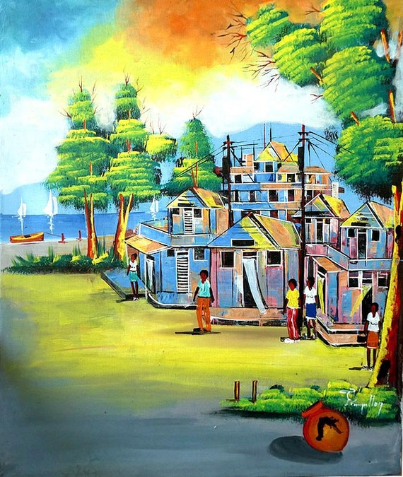 "Haitian Painting, Canvas Art, Haitian Village, Haitian Art, Hand Painted Canvas Painting , Original Art of Haiti - 20"" x 24"""