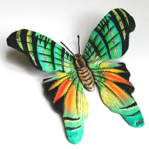 "Butterfly Metal Wall Hanging -Painted Metal Wall Art - 10"", Metal Art, Garden Art, Tropical Home Decor - Metal Art Butterflies - BU-512-MW"