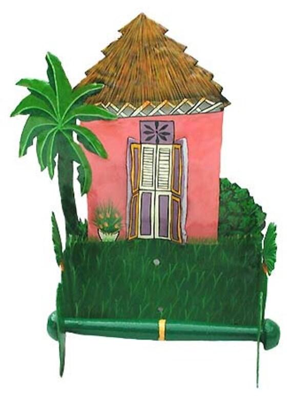 Toilet Paper Holder - Painted Metal Art, Caribbean House - Tropical Bathroom Decor - Tissue Paper Holders, Toilet Roll Holder - 7074-PK-TP