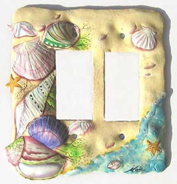 Light Switchplate Covers, Double Rocker Switch Plate, Painted Metal Beach Decor, Shell Design,  Light Switch Cover, Switchplates, SR-1128 -2