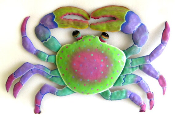 "Painted Metal Crab, Metal Wall Hanging,Tropical Decor, Beach Decor, Garden Art, Outdoor Metal Art, Coastal Decor, Patio Art, 22"", 227-PK"