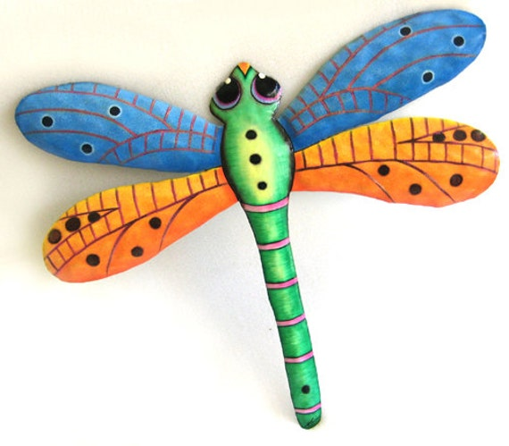 "Dragonfly Garden Art - Metal Art Wall Hanging - 17"" - Painted Metal Tropical Wall Decor - Outdoor Garden Art,  Dragonflies -F-1001-BL-GL"