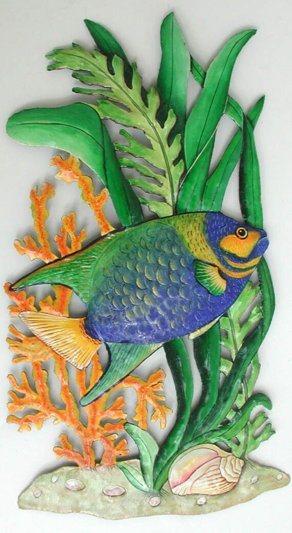 TROPICAL FISH Metal Art, Metal Wall Hanging, Painted Metal, Tropical Decor, Metal Wall Art, Fish Design - Island Decor, Beach Art - K171-34