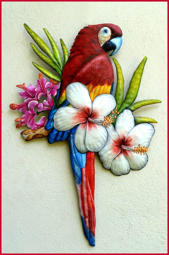 Scarlet Macaw Wall Hanging, Metal Art, Parrot Art, Tropical Art, Hand Painted Metal Art, Tropical Decor, Outdoor Metal Wall Art -  K7401