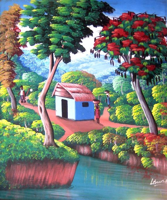 "Canvas Painting, Canvas Wall Art, Haitian Art, Original Painting, Canvas Art, Naive Art, Art of Haiti, Haitian Painting  - 20"" x 24"""