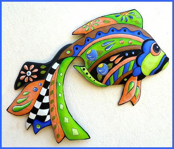 HAND PAINTED Metal Tropical Fish, Wall Hanging, Wall Decor, Metal Art, Garden Art, Tropical Design, Metal Wall Art, Garden Decor, J451-GR-24