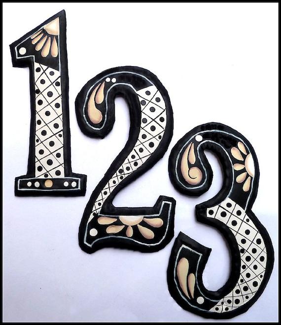 "1 Decorative Metal House Number, 7 1/2"", Hand Painted Metal Address Numbers. Outdoor Metal Art, Metal Yard Art, Garden Decor, AD-200-4TN"