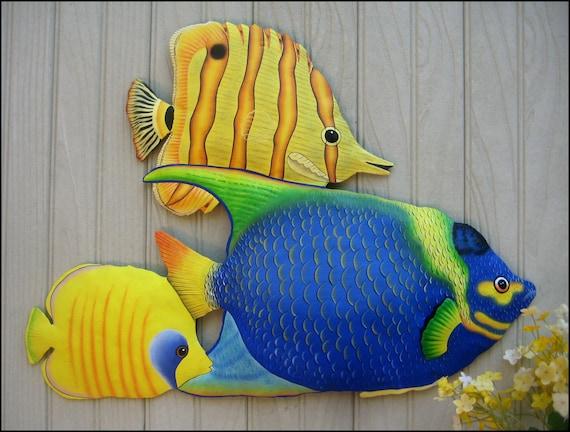 DECORATIVE TROPICAL FISH GARDEN ART,  Painted Metal Wall Art, Haitian Art, Tropical Fish Wall Hanging, Outdoor Metal Art, Beach Decor, K150