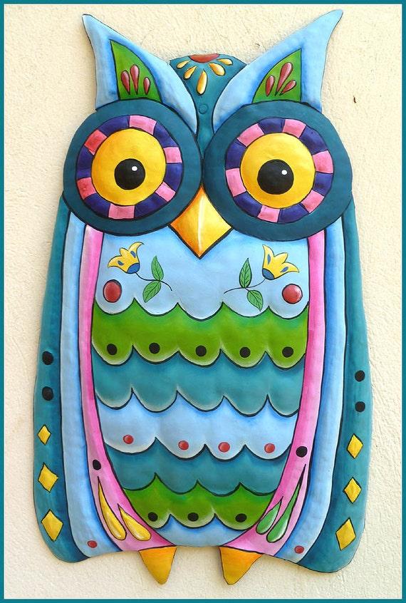 Painted Metal Owl, Garden Decor, Metal Art, Garden Art, Painted Metal, Owl Wall Hanging, Metal Decor, Funky Art, Metal Wall Art, J-351AQ