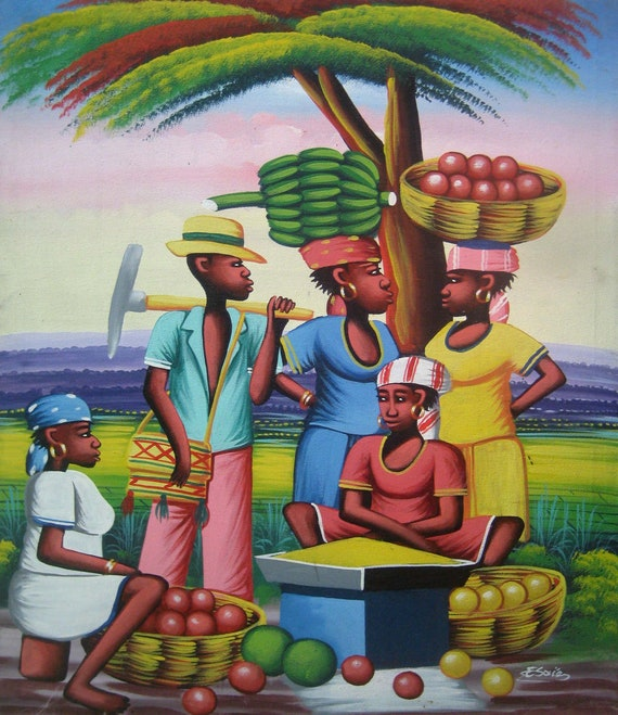 """Haitian Painting, Canvas Art, Market Scene, Haitian Art, Hand Painted Canvas Painting , Original Art of Haiti - 20"""" x 24"""""""
