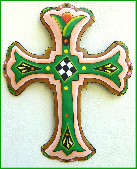 "Hand Painted Metal Cross Wall Hanging, 18"" Cross Wall Decor, Christian Decor, Christian Gift, Metal Cross Wall Art, J-851-GR-18"