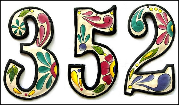 """1 Metal House Numbers, 12"""" Hand Painted Metal Address. Haitian Recycled Steel Drum, Decorative House Number, Haitian Metal Art-AD-100-W"""
