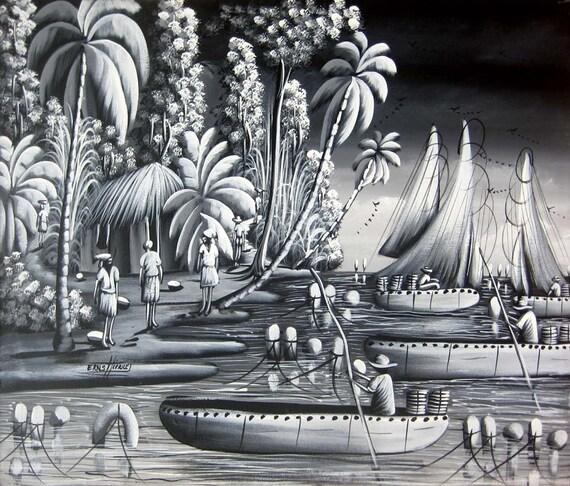 Canvas Painting, Original Painting, Haitian Art, Art of Haiti, Haitian Painting, Canvas Art, Hand Painted, 20 x 24