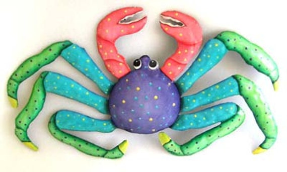 Crab Wall Hanging, Coastal Decor, Metal Wall Art, Painted Metal Tropical Design, Metal Art, Metal Wall Decor, Nautical Design, FM-217-PU