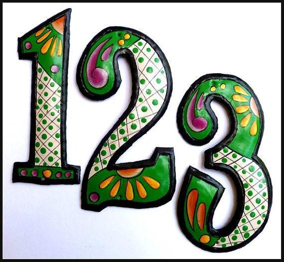 "1 Metal House Numbers, 12"" Hand Painted Metal Address Numbers, Medal Art House Number, Address Sign, Number Sign, Metal Yard Art, AD-200-GR"