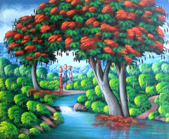 "Art of Haiti, Canvas Painting, Haitian Art, Original Painting, Canvas Art, Haitian Painting, Haitian Scene, Canvas Wall Art,  20"" x 24"""