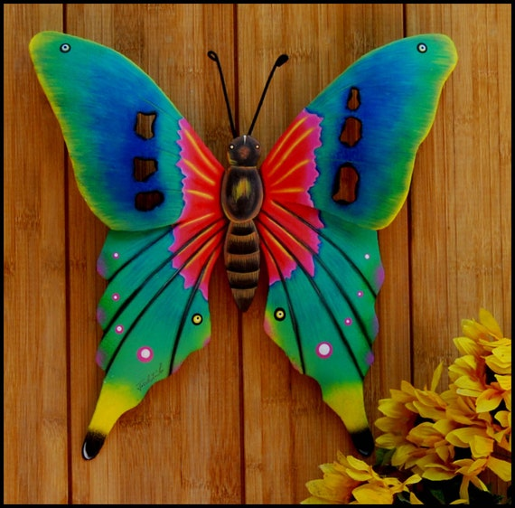 Painted Metal Butterfly Art, Butterfly Wall Art, Outdoor Garden Art, Painted Garden Decor, Metal Wall Hanging, Butterfly Metal Art, 108-TQ