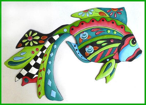 """TROPICAL FISH Wall Art, Garden Art, Hand Painted Metal Art, 34"""" Tropical Art, Tropical Decor, Metal Wall Art, Garden Decor - J-451-AQ-34"""