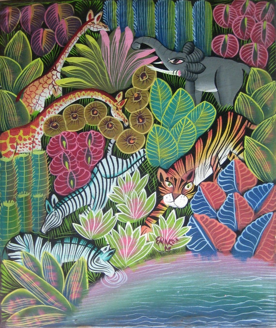"Haitian Art, Art of Haiti, Wall Art, Jungle Scene, Haitian Painting, Canvas Art, Hand Painted, Canvas Painting, Wall Decor, 20"" x 24"""