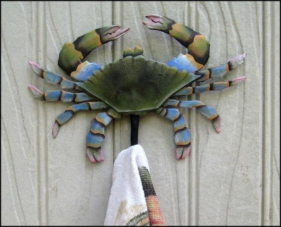 "Blue Crab Wall Hook, Coastal Decor, Hand Painted Metal Towel Hook, Crab, Metal Hook, Nautical Decor, Beach Decor, 5"" x 6""  - K-7066-SH"
