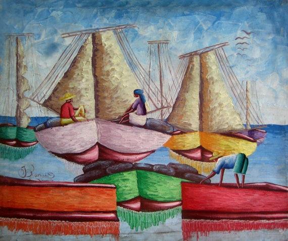 "Haitian Art, Art of Haiti, Wall Art, Boats, Haitian Painting, Canvas Art, Hand Painted, Canvas Painting, Wall Decor, 20"" x 24"""