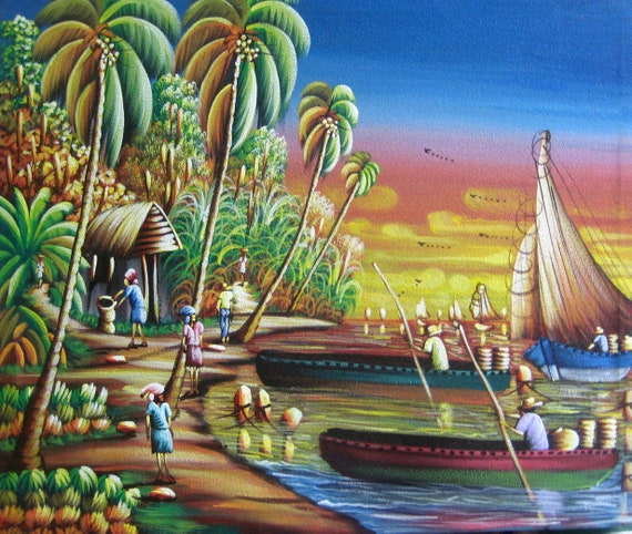 "Haitian Art, Art of Haiti, Wall Art, Boat Scene, Haitian Painting, Canvas Art, Hand Painted, Canvas Painting, Wall Decor, 20"" x 24"""