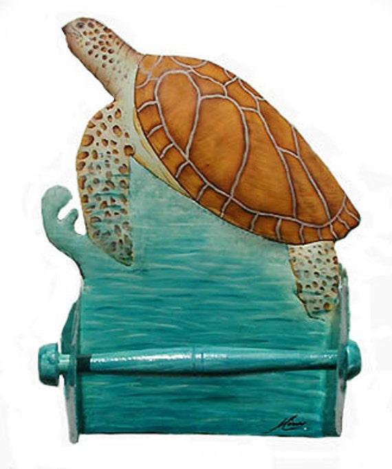 Painted Metal Toilet Paper Holder, Sea Turtle, Beach Decor, Nautical Decor, Island Decor, Bathroom Decor, Toilet Tissue Holder, K7064-TP