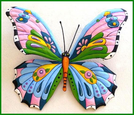 """Metal Art Butterfly, Outdoor Metal Wall Art, Butterfly Wall Decor, Garden Art, Painted Metal Wall Hanging, Garden Metal Art, 36"""", J-903PK-BL"""