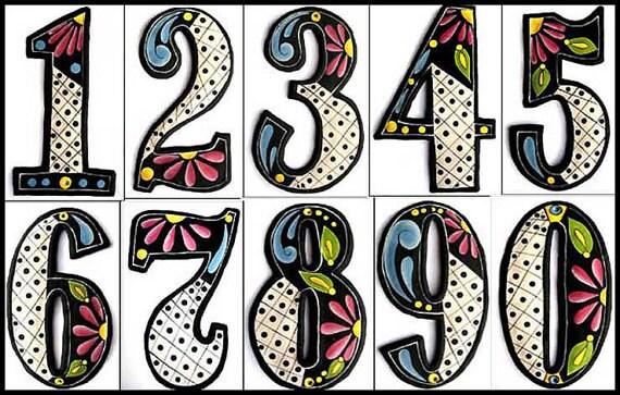 House Numbers, Hand Painted Metal Address Numbers, Metal Art, Recycled Steel Drum, Garden Art, Metal Numbers. Haitian Metal Art- AD-200-BK