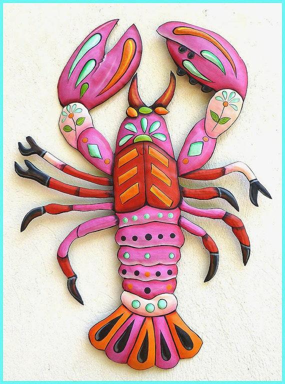Painted Metal Lobster Wall Hanging, Metal Wall Art, Beach Decor, Outdoor Metal Art, Haitian Metal Art, Metal Decor, Coastal Decor, J-936PK34