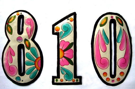 """1 Address Number, 4 1/2"""" House Number, Painted Metal Address, Haitian Recycled Steel Drum, Decorative House Numbers, Metal Yard Art,AD100-PK"""