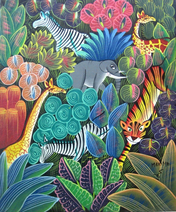 "Art of Haiti, Canvas Painting, Haitian Art, Original Painting, Canvas Art, Haitian Painting, Jungle Scene, Canvas Wall Art,  20"" x 24"""