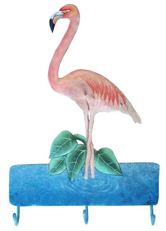 """Painted Flamingo Metal Wall Hook, Tropical Design, Metal Bathroom Decor, Metal Hook, Tropical Metal Art, Metal Towel Hook, 12"""" x 19"""". 7061-H"""