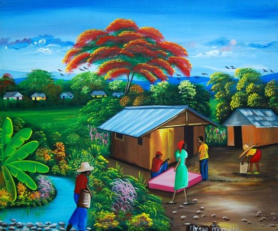 "Haitian Painting, Hand Painted Art, Art of Haiti, Haitian Art, Canvas Painting, Original Painting, Canvas Art, Canvas Wall Art,  20"" x 24"""