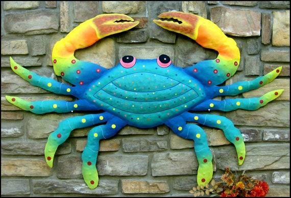 Metal Crab, Coastal Decor, Metal Wall Hanging, Garden Decor, Patio Decor, Island Decor, Garden Art, Outdoor Metal Art, RX-107-TB