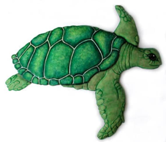 Green Sea Turtle, Beach Decor, Metal Wall Hanging, Garden Decor, Garden Art, Metal Wall Hanging, Outdoor Metal Art, Painted Metal, K-7049-B
