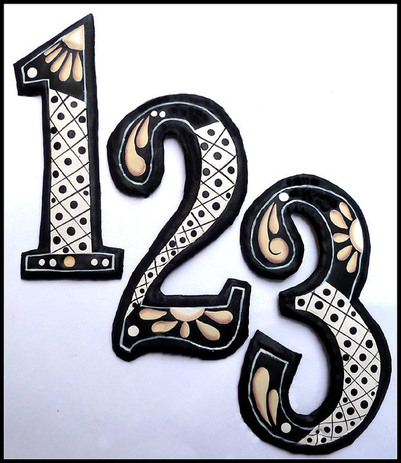 "1 House Number, 12"" Painted Metal Address, Haitian Recycled Steel Drum, Decorative House Numbers, Address Numbers, Metal Yard Art, AD200-TN"