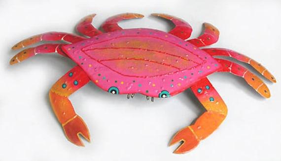 "Metal Wall Art Crab, Coastal Decor, Outdoor Metal Art, Tropical Wall Decor, 15"" x 21"", Coastal Metal Art, Tropical Patio Decor,  RX107-PK-21"