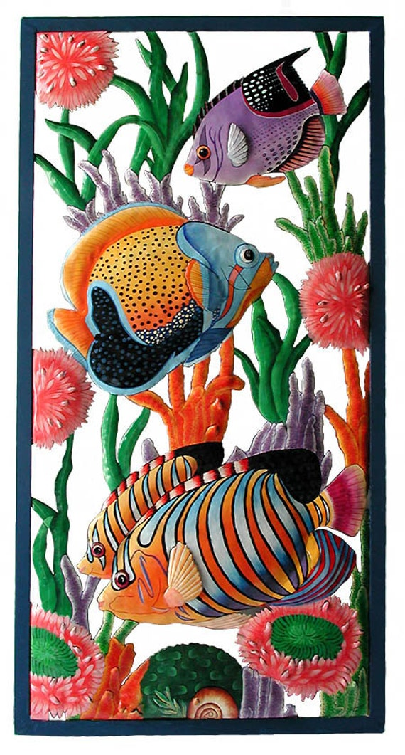 "TROPICAL FISH Metal Art, Wall Hanging, Outdoor Metal Wall Art, Hand Painted Metal, Tropical Home Decor, Caribbean  Art, 17"" x 35"" - K-7300"