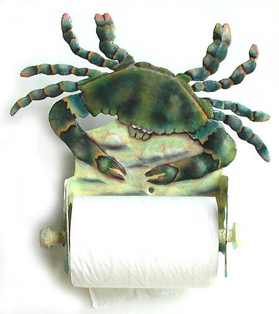 Painted Metal Blue Crab Toilet Paper Holder, Nautical Decor, Bathroom Decor, Toilet Tissue Holder, Coastal Decor, Beach Decor,  K7066-TP