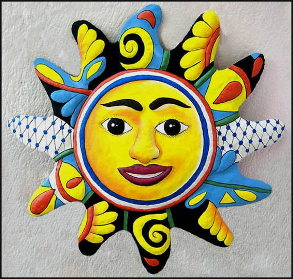 "PAINTED SUN, 24"" Sun, Painted Metal Wall Decor, Metal Art, Garden Decor, Metal Sun, Sun Wall Art, Outdoor Metal Wall Art, M-101BL-24"