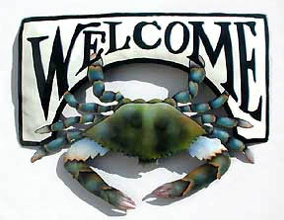 Metal Welcome Sign, Painted Metal Blue Crab, Nautical Art, Island Decor, Tropical Decor, Garden Art, Outdoor Garden Decor -K7066-CW