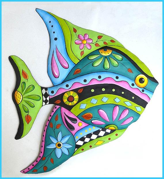 TROPICAL FISH Wall Hanging, Metal Art, Hand Painted Metal Art, Fish Design, Outdoor Metal Wall Art, Tropical Art, Patio Decor - J-452-AQ